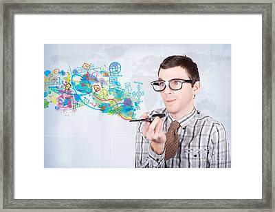 Technology Smart Man Browsing Smartphone Apps Framed Print by Jorgo Photography - Wall Art Gallery