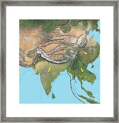 Tectonic Map Of Asia Framed Print by Gary Hincks