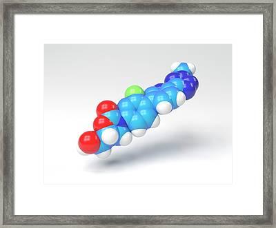Tedizolid Antibiotic Molecule Framed Print