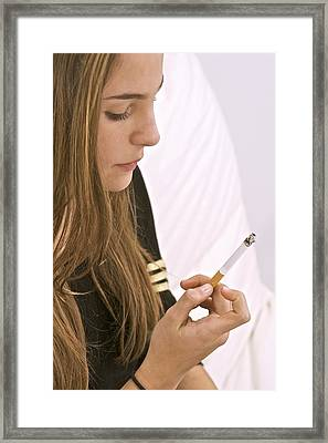 Teenager Smoking Framed Print by Science Photo Library