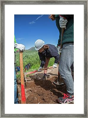 Teenagers Maintaining Hiking Trail Framed Print