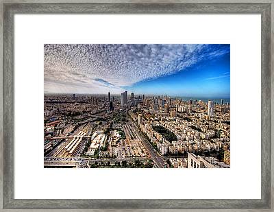 Tel Aviv Skyline Framed Print by Ron Shoshani
