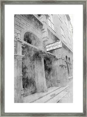 Telegraf Building In Foggy Oslo Framed Print by Sophie Vigneault
