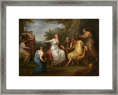 Telemachus And The Nymphs Of Calypso Framed Print by Angelica Kauffmann