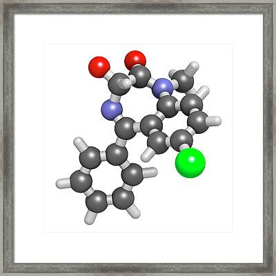 Temazepam Benzodiazepine Drug Molecule Framed Print