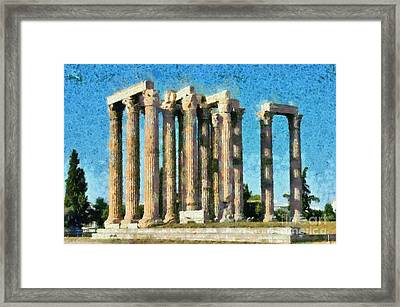 Temple Of Olympian Zeus  Framed Print by George Atsametakis