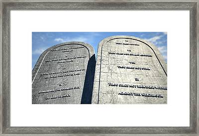 Ten Commandments Standing In The Desert Framed Print by Allan Swart