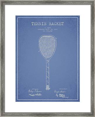 Tennis Racket Patent Drawing From 1887 Framed Print
