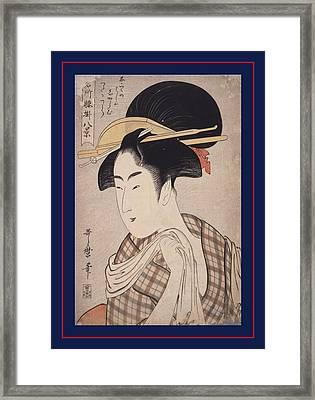 Tenugui = Hand-towel, Kitagawa, Utamaro 1753-1806 Framed Print by Artokoloro