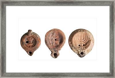 Terra-cotta Oil Lamps Framed Print