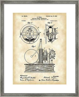Tesla Electric Circuit Controller Patent 1897 - Vintage Framed Print by Stephen Younts