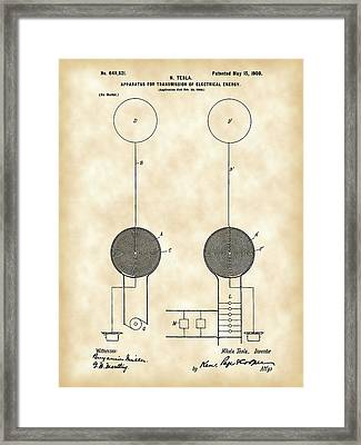 Tesla Electric Transmission Patent 1900 - Vintage Framed Print