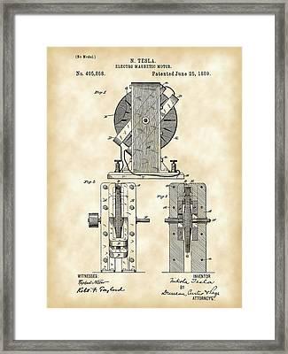 Tesla Electro Magnetic Motor Patent 1889 - Vintage Framed Print by Stephen Younts