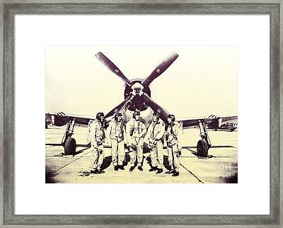 Test Pilots With P-47 Thunderbolt Fighter Framed Print by R Muirhead Art