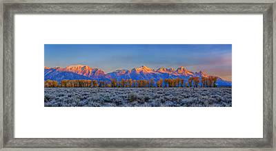 Teton Alpenglow Autumn Panorama Framed Print by Greg Norrell