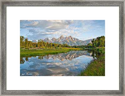 Teton Range Reflected In The Snake River Framed Print