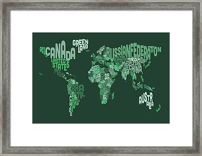 Text Map Of The World Map Framed Print by Michael Tompsett