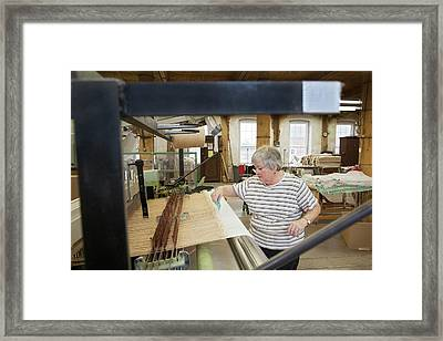Textile Mill Loom Operator Framed Print by Jim West