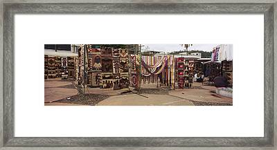 Textile Products In A Market, Ecuador Framed Print
