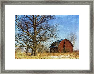 Textured Red Barn Framed Print by Kathleen Scanlan