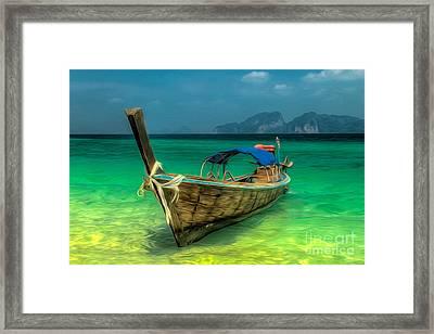 Thai Longboat Framed Print by Adrian Evans