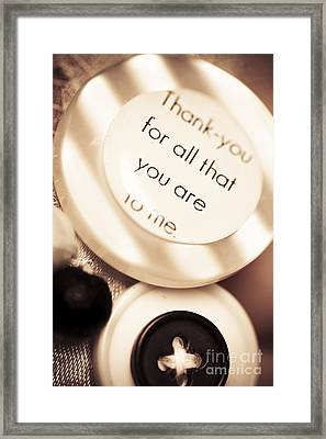 Thank You Wedding Buttons. Low Dof Macro Framed Print by Jorgo Photography - Wall Art Gallery