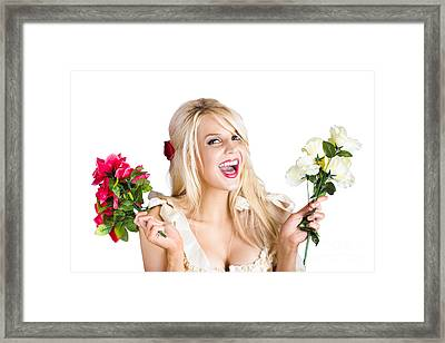 Thankful Woman With Fresh Flower Love Framed Print by Jorgo Photography - Wall Art Gallery