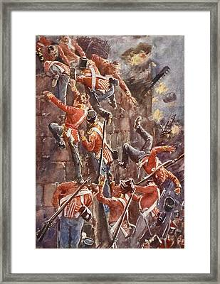 The 5th Division Storming By Escalade Framed Print by William Barnes Wollen