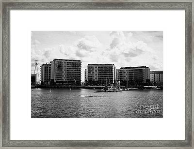 the arc apartments and Belfast harbour marina queens island titanic quarter Northern Ireland UK Framed Print