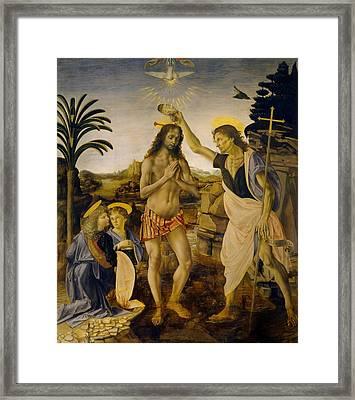 The Baptism Of Christ Framed Print by Leonardo da Vinci