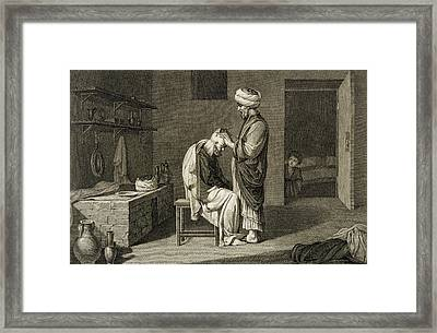 The Barber Framed Print by Nicolas Jacques Conte