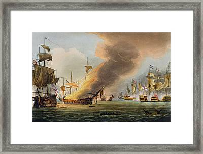 The Battle Of Trafalgar Framed Print by Thomas Whitcombe