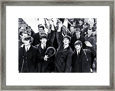 The Beatles Land In America - 1964 Framed Print by Mountain Dreams