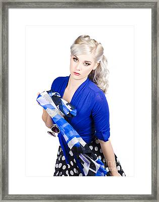 The Classic Pin-up Image. Girl In Retro Style Framed Print