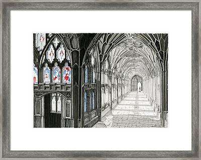 The Cloisters Framed Print by John Simlett