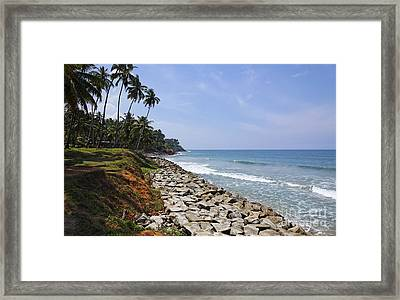 The Coast At Varkala In Kerala India Framed Print by Robert Preston