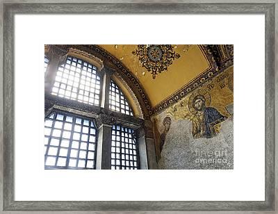 The Deisis Mosaic Showing Jesus Christ Hagia Sophia Framed Print by Robert Preston
