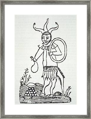 The Devil Pointing Out Hidden Framed Print by French School