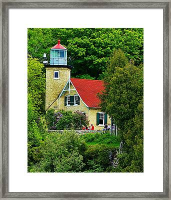 The Eagle Bluff Lighthouse Of Door County Framed Print by Carol Toepke