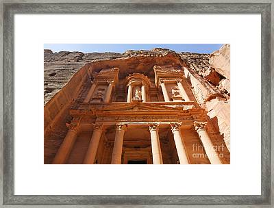 The Facade Of Al Khazneh In Petra Jordan Framed Print by Robert Preston