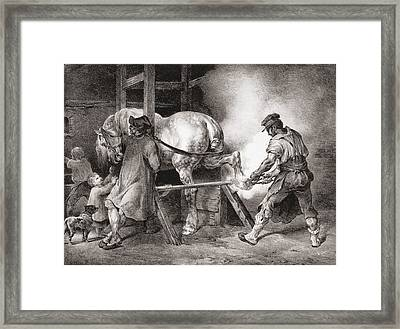 The Farrier, From Etudes De Cheveaux Framed Print by Theodore Gericault