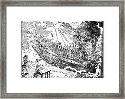 Framed Print featuring the drawing The Flying Submarine by Reynold Jay