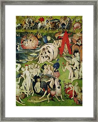 The Garden Of Earthly Delights Allegory Of Luxury, Detail Of The Central Panel, C.1500 Oil On Panel Framed Print by Hieronymus Bosch