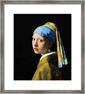 The Girl With A Pearl Earring Framed Print by Johannes Vermeer