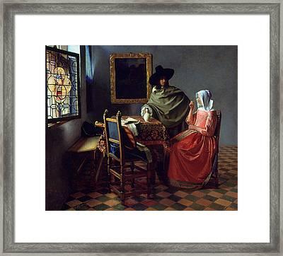 The Glass Of Wine Framed Print by Johannes Vermeer