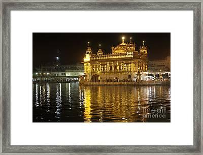 The Golden Temple Of Amritsar At Night Framed Print