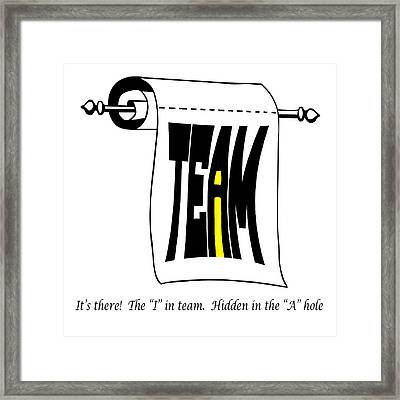 The I In Team Framed Print by Steve Harrington