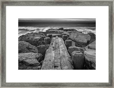 The Jetty In Black And White Framed Print by Rick Berk