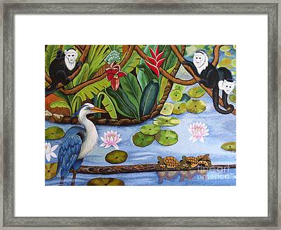 The Lotus Pond Hand Embroidery Framed Print by To-Tam Gerwe