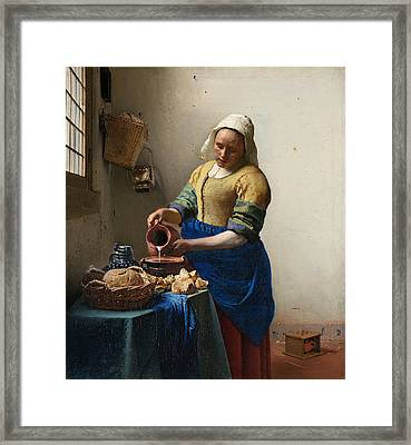 The Milkmaid Framed Print by Johannes Vermeer